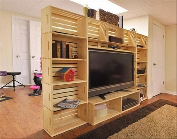 Pallet Room Divider with TV Console