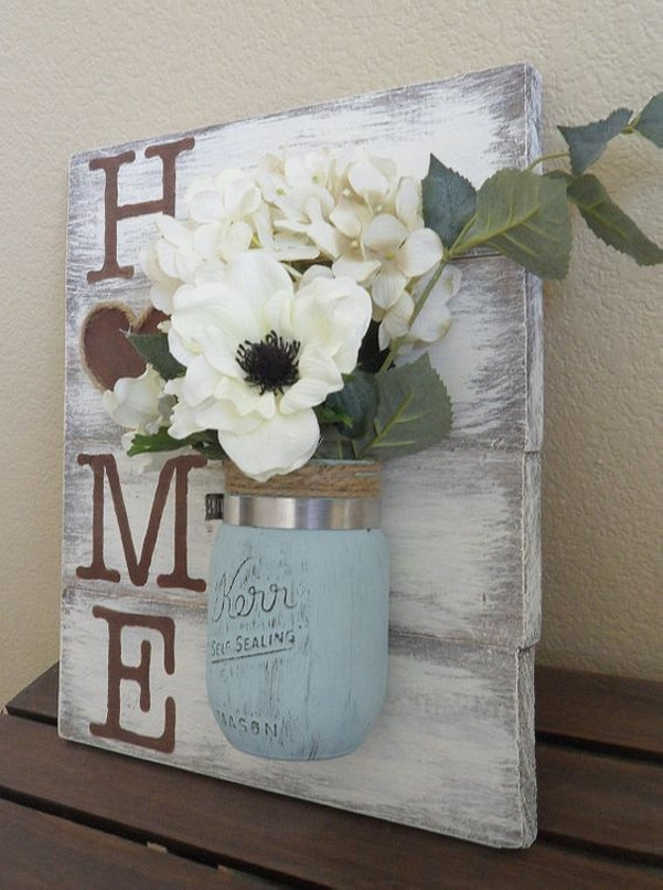 Upcycled Mason Jar Along Pallet Art