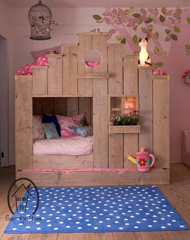 pallet bunk bed and playhouse