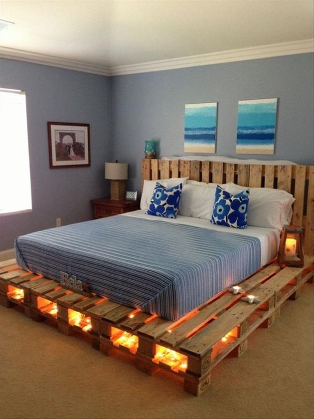 pallet lighted bed