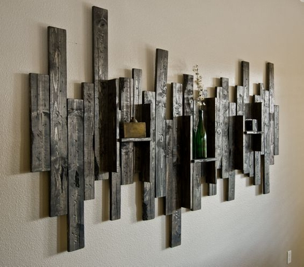 Wall Decor Shelves Sconces : Its easy to create pallet wood shelves ideas