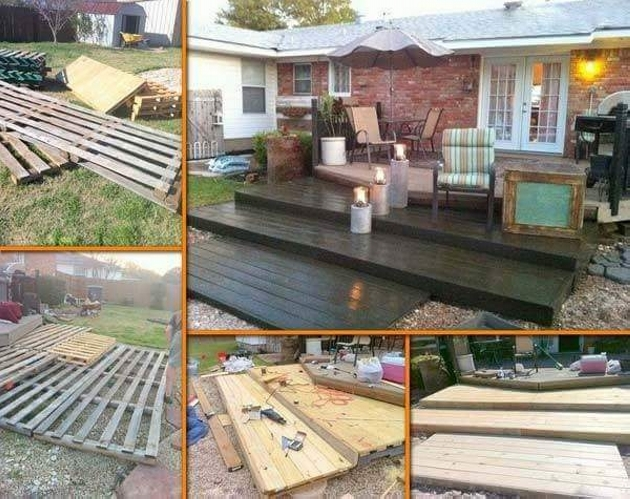 DIY pallet deck in garden