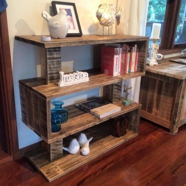 bookshelf from wooden pallets