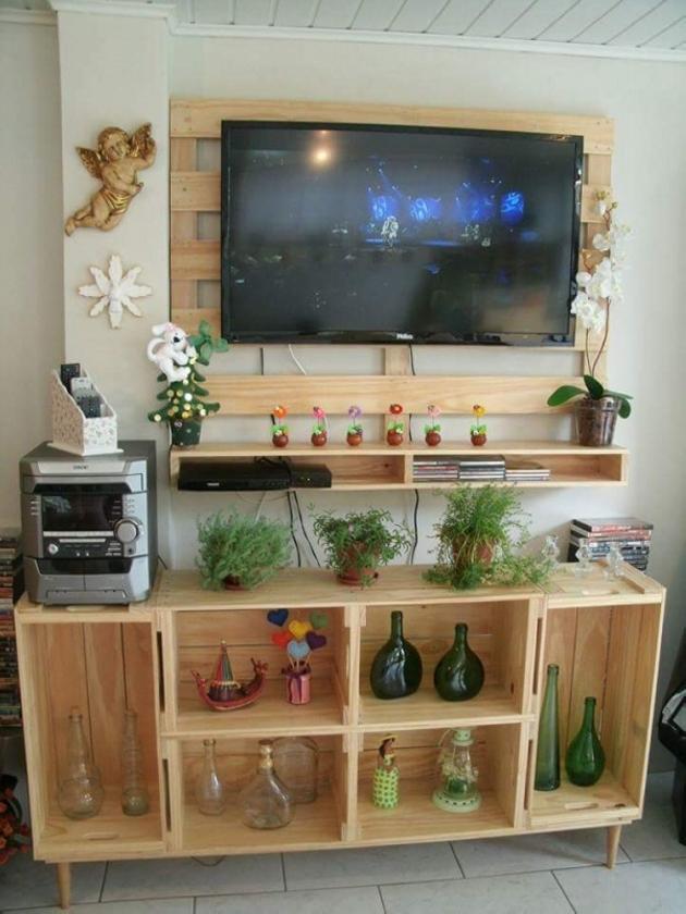 pallet wooden tv console